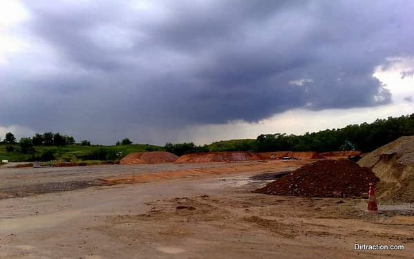 4 big chunks soil structure anchoring the BMX track