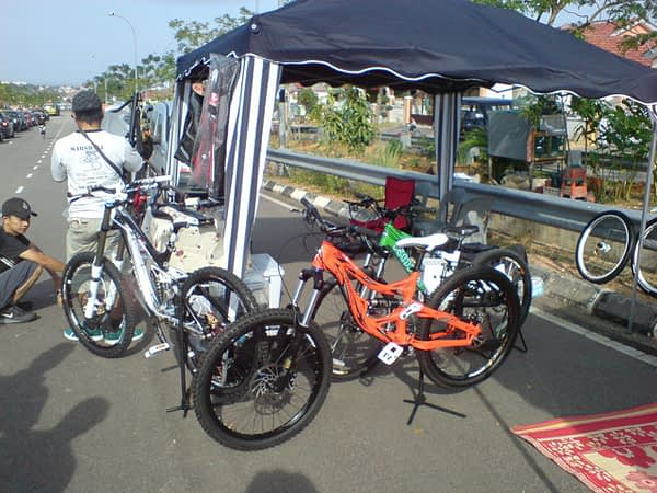 Another team tent with their bling bikes on display